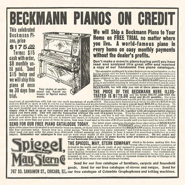 Beckmann Pianos Classified Advertisement