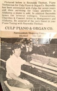 Culp Piano Ad in Montgomery Alabama - when Culps was located in Normandale